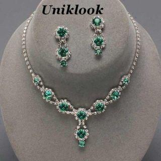 Bridesmaid Emerald Green Crystal ELEGANT Jewelry Necklace Earrings Set