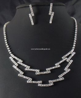 Bridal Wedding Bridesmaid Crystal Silver Clear Necklace Jewelry Sets