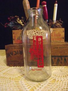 Vintage Bridgeman Dairy One Quart Milk Bottle Great Graphics Estate
