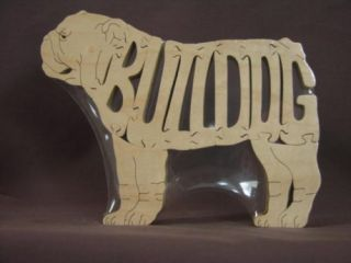 English Bulldog Bull Dog Wood Amish Made Scroll Saw Toy Puzzle