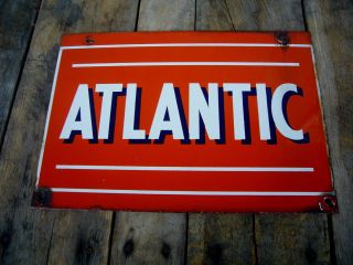 Original Porcelain Atlantic Gasoline Oil Pump Plate Sign Advertising
