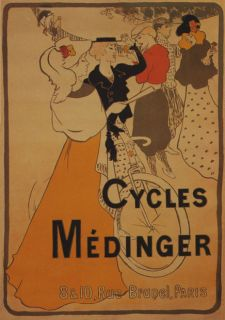 BICYCLE BIKE CYCLES MEDINGER BRUNEL PARIS GIRLS VINTAGE POSTER REPRO