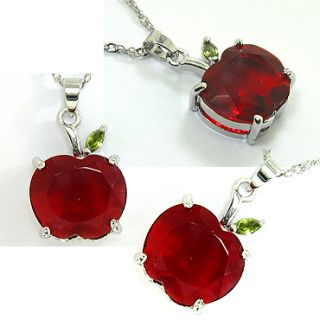 Wedding Jewelry Free Necklace Apple Cut Red Ruby White Gold Plated