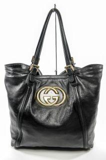 Gucci Black Leather Britt Tote Handbag