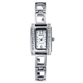 Fashion Personality White Topaz Bangle Clock Quartz Wrist Watch