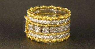 Buccellati 18K Two Tone Gold Diamond Sapphire Band Ring
