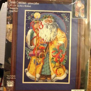 Father Christmas Santa Needlepoint Kit Bucilla in Gold Coat Nancy