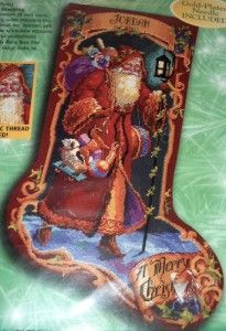 18 BUCILLA NEEDLEPOINT FATHER CHRISTMAS SANTA STOCKING KIT by Nancy