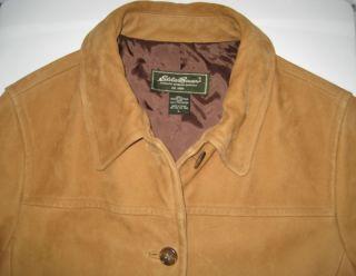 Eddie Bauer Sueded Buckskin Leather Jacket Car Coat L Large Camel