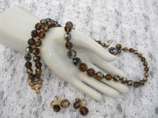 Vintage Marvella Amber/Topaz Glass Crystal Beaded Parure, Necklace