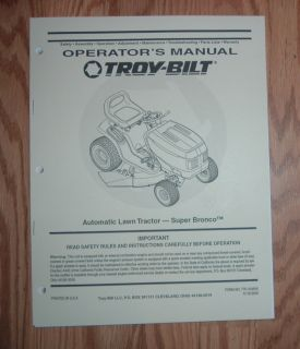 Automatic Transmission Super Bronco Lawn Tractor Owners Manual