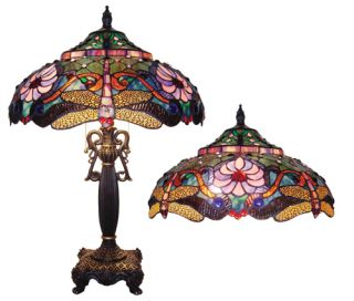 Handcrafted Dragonfly Styled Tiffany Style Stained Glass Table Lamp w