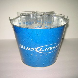 NEW BUDWEISER BUD LIGHT METAL ICE BUCKET 4 GLASSES BEER COOLER PUB BAR