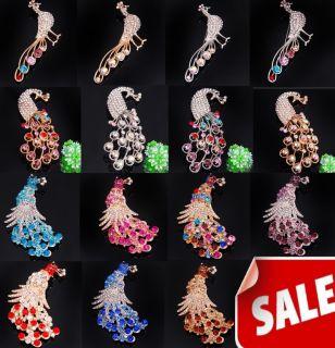 wholesale 30pcs peacock CZ crystal rhinestone brooch pins jewelry