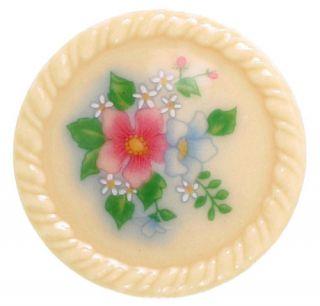 Vintage Signed Avon Porcelain Floral Flower Brooch Pin 1980s Ceramic