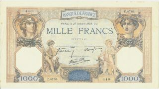 Banque de France 1000 Francs 1938 Nice Condition Large Impressive Note