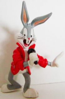 Bugs Bunny Holding Microphone Figurine Looney Tunes 3 1 2 inch Plastic