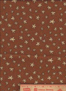 Valance Brown Stars primitive country kitchen cotton fabric curtain