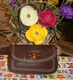 Lovely Chaps Brown PEBBLED Leather Clutch Handbag Purse