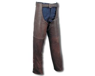 Retro Brown Premium Leather Motorcycle Chaps XSmall