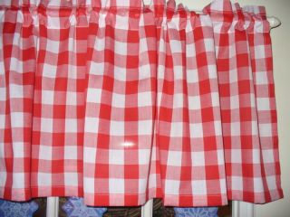 Valance Country Checked kitchen cotton fabric curtain red white