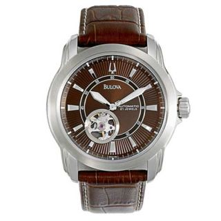 Bulova Mens Automatic Cognac Brown Leather Watch 96A108