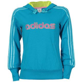ADIDAS ESSENTIALS LADIES WOMENS HOODED SWEATER SIZE 8 10 12 14 16 BLUE
