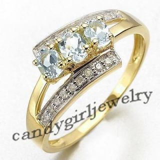 Jewelry Blue Aquamarine Womans 10KT Yellow Gold Filled Ring Gift