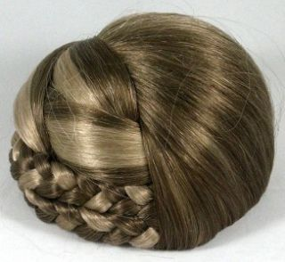 Blond Braided Bun Based Updo Chignon Pageant Hairpiece