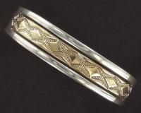Native American Navajo Bruce Morgan Sterling Silver Gold Mens Cuff