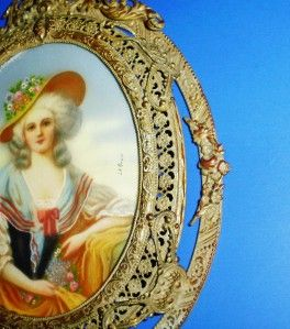 Antique Mintature Celluloid Gilt Framed Portrait Signed Le Brun