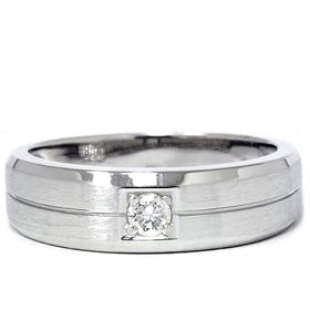 Mens 14k White Gold Ring Solitaire Brushed Geniune Diamond Wedding