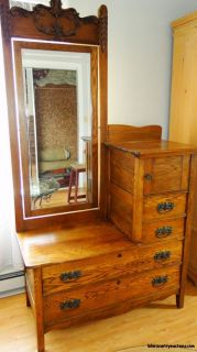 Antique Carved Vanity Eastman Bedroom Dresser with Mirror Wood Dark