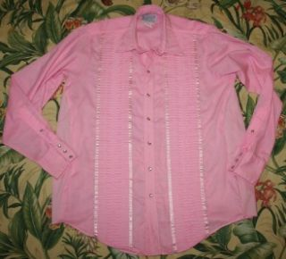Vtg Rockmount Formal Pink Tuxedo Pearl Snap Western Shirt Large L