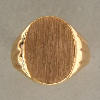 Yard Solid 14k Brushed Yellow Gold Size 9 Signet Ring 18mm Wide