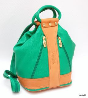 New Valentina Italian Leather Bucket Bag Handbag Green