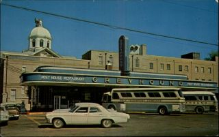 Jackson TN Greyhound Bus Station Post House Restaurant Buses Old Car