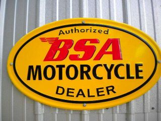 Vintage BSA Motorcycle Dealer Metal Sign Embossed Parts