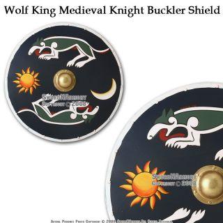 Wolf King Medieval Knight Buckler Shield w Handle Boss