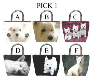 Highland Terrier Westie Dog Puppy A F Bucket Bag Handbag Purse #PICK 1