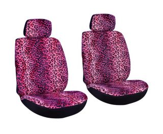 Leopard Animal Print Pink Low Back Front Bucket Car Seat Cover Set