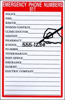 Emergency Phone Number List Magnetic Child Babysitter