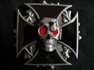 Iron Black Cross Death Skull Biker Belt Buckle New