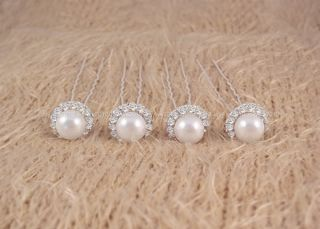 Wedding Prom White Pearl Rhinestone Hair Pins 4pcs ★