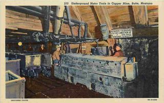 Butte Montana MT 1938 Underground Train Copper Mine Vintage Postcard