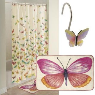 Butterfly Shower Curtain and Hooks Bath Bathroom Home Decor Free