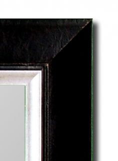 Executive Leather Vintage Silver Wall Mirror Hitchcock Butterfield