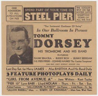 Frank Sinatra Tommy Dorsey Buddy Rich Original 1940 Concert Handbill