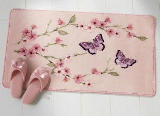 asian inspired cherry blossom butterfly bath mat new