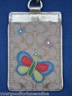 NWT Coach Butterfly Lanyard ID Badge Holder Card Case Multi Khaki Gold